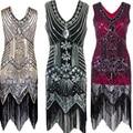 Franja sequin das mulheres do vintage 1920 s art deco estilo v neck mangas grande gatsby charleston flapper vestidos de traje de festa à noite