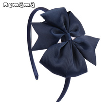 4 Inch Girls 활 Hairband Children's Candy 색 바람개비 Hair Band 와 로그 랭 Ribbon 활 수 제 Solid Hair 액세서리(China)