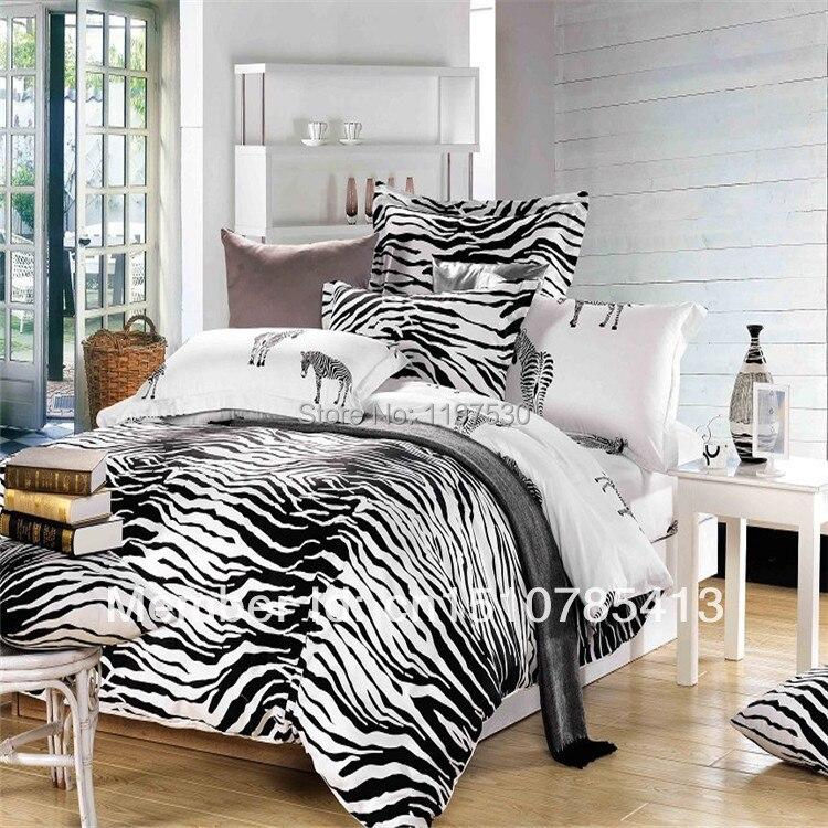 Black And White Zebra Leopard Bedding Full Queen Size 100