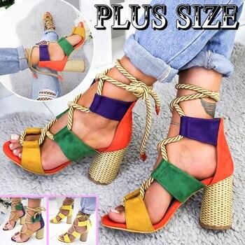 Women Sandals Wedge Espadrilles Summer Shoes Woman 7CM High Heels Sexy Gladiator Lace Up Platform