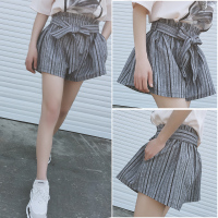 Harajuku Vertical Stripe Elastic High Waist Bow Tie Front Shorts Women Korean Preppy Lace Up Linen