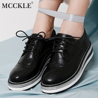 MCCKLE Women Shoes Sewing British Wind Platform New Women's Lace Up Brock Solid Fur Flat Footwear Ladies Casual Hollow Botas