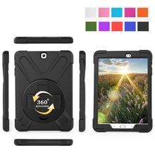 Caso Tablet Per Samsung Galaxy Tab 9.7 SM T550 T555 Funda Copertura Safe Kids Antiurto Heavy Duty Dura Del Silicone Mano supporto