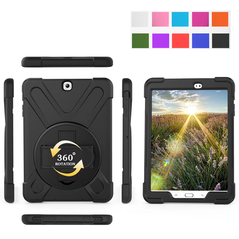 Tablet Case For Samsung Galaxy Tab A 9.7 SM-T550 T555 Cover Funda Kids Safe Shockproof Heavy Duty Silicone Hard Hand Holder tire style tough rugged dual layer hybrid hard kickstand duty armor case for samsung galaxy tab a 10 1 2016 t580 tablet cover