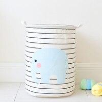 洗濯バスケット象パターンストライプ洗濯物用かごストレージバスケット家の装飾 HG99