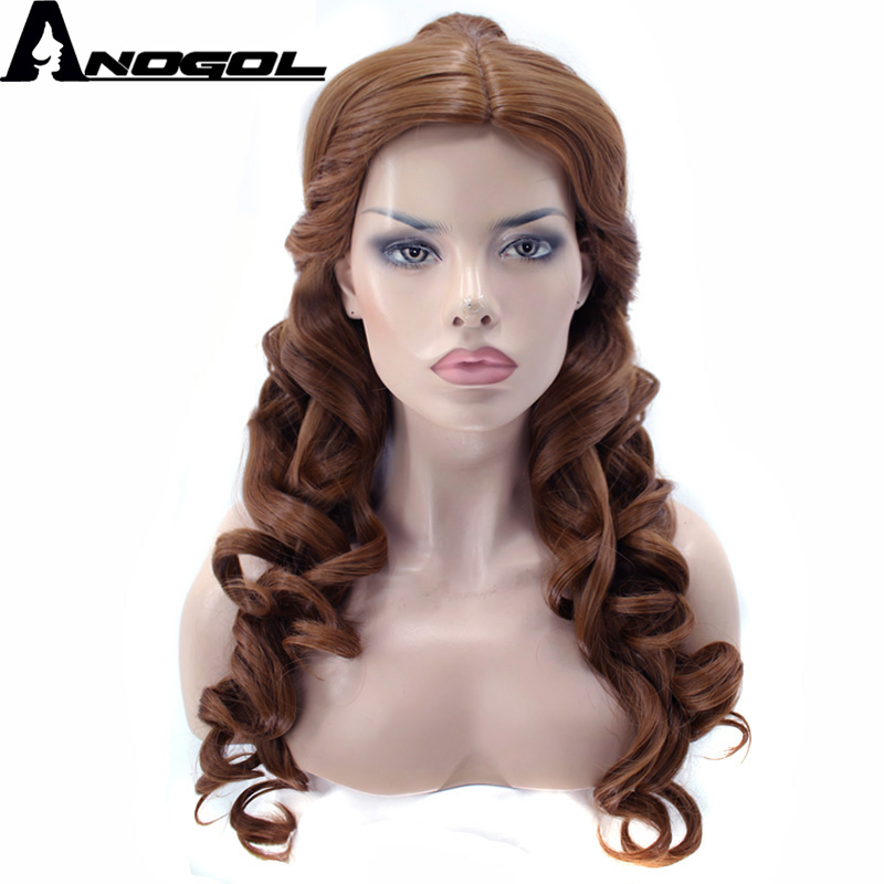 Anogol Belle Natural Long Body Wave And The Beast Clip Ponytail Brown Princess Synthetic Cosplay Wig For Halloween Party