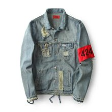 Hiphop Men's Clothes Brand Clothing Four Two Four 424 Spring Broken Hole Jeans Designer Ripped Denim Jacket Coat