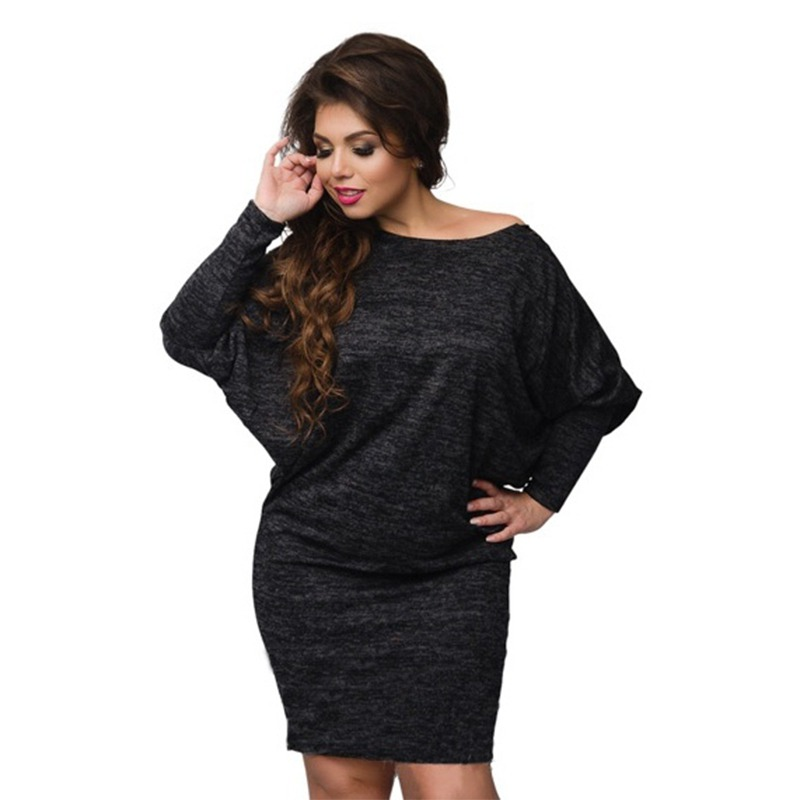 New Autumn Women Casual Dress Batwing Sleeve Knitted Bodycon Lace Loose Dresses Big Size Vestidos