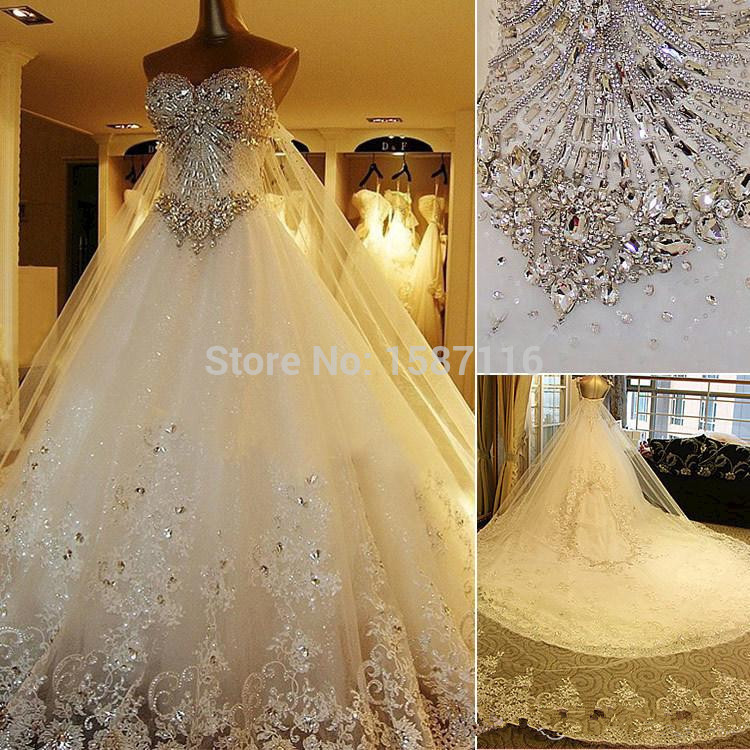 Luxury Crystal Cathedral Train Ball Gown Wedding Dresses with ...
