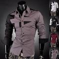 2016 Nuevos Mens de La Llegada Venta Caliente Famoso Diseño de Algodón de Negocios Sliming Traje Camisa de Vestir de la Mejor Calidad de 7 Colores 5 Tamaños 8397