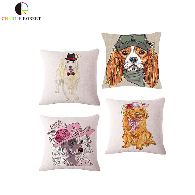 Lovely Dog Home Deocr Cushion Throw Pillow Vintage Cojines