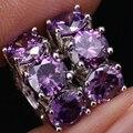 Inusual Amethyst Púrpura 925 Huggie Del Aro Pendientes Para Las Mujeres Shipping S0856