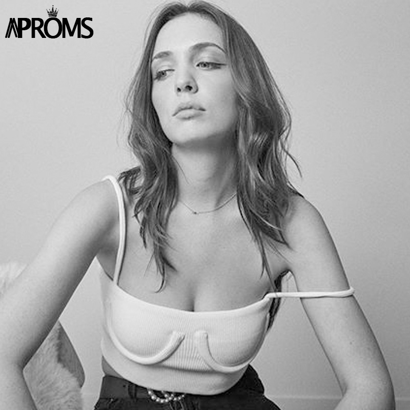 Aproms Streetwear Basic Camis Fashion 2019 Women Spaghetti Straps Knitted Ribbed Cropped   Tank     Top   Short Elastic Bra T-shirts Tee