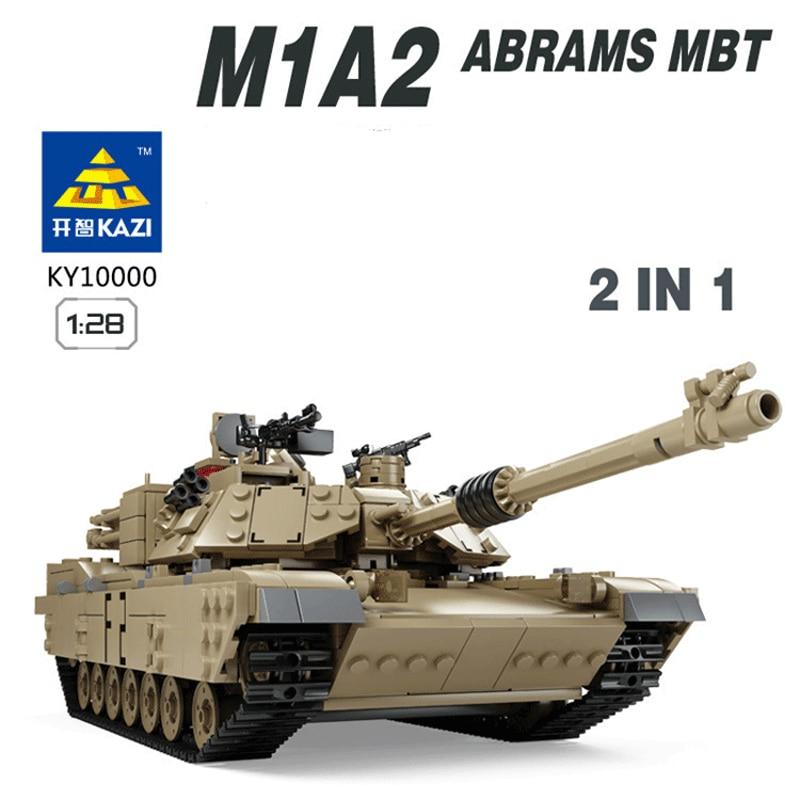 Kazi 1463pcs Military Theme Tank Building Blocks M1A2 ABRAMS MBT KY10000 1 Change 2 Toy Tank Models Toys compatible with lepin 8 in 1 military ship building blocks toys for boys