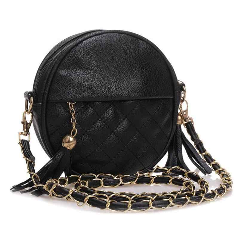 Women feamle tassel chain leather lady handbags round small bags girls  messenger bag crossbody bags candy 2e961e7523