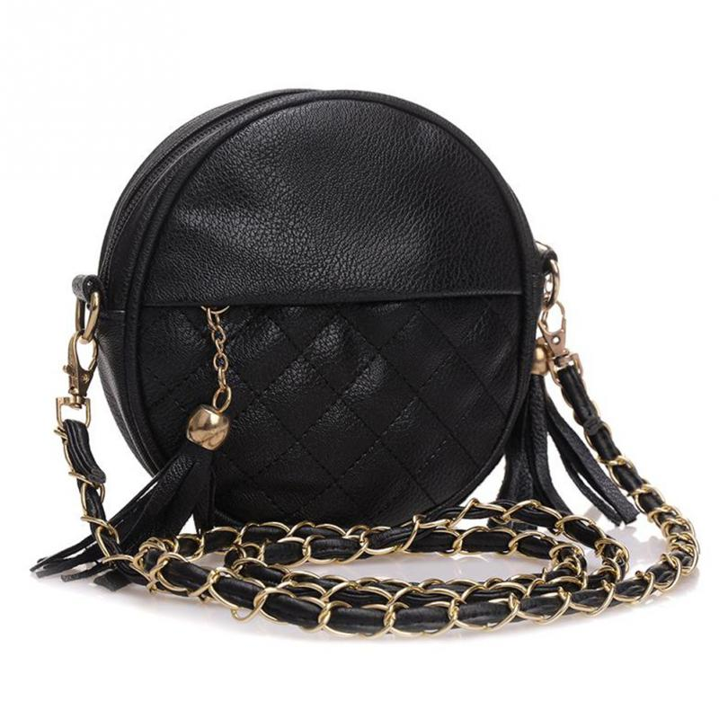 2017 Top-handle Women Tassel Chain Small Bags Mini Lady Fashion Round Shoulder Bag Handbag PU Leather Sling Crossbody Bag female fashion women handbags tassel pu leather totes bag top handle embroidery crossbody bag shoulder bag lady simple style hand bags