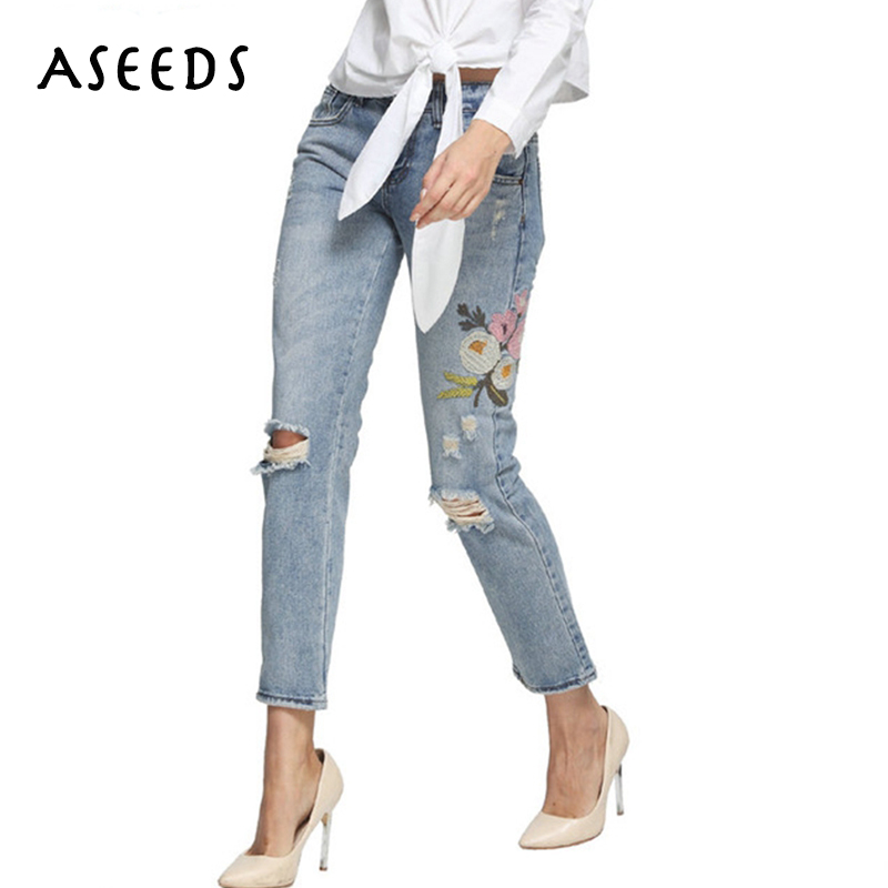 Distressed boyfriend jeans women vintage ripped flower embroidery jeans woman mid jeans pencil pants female 2017 women jeans jeans woman summer ripped boyfriend jeans for women red lips denim mid waist distressed pencil pants femme casual long pants z15