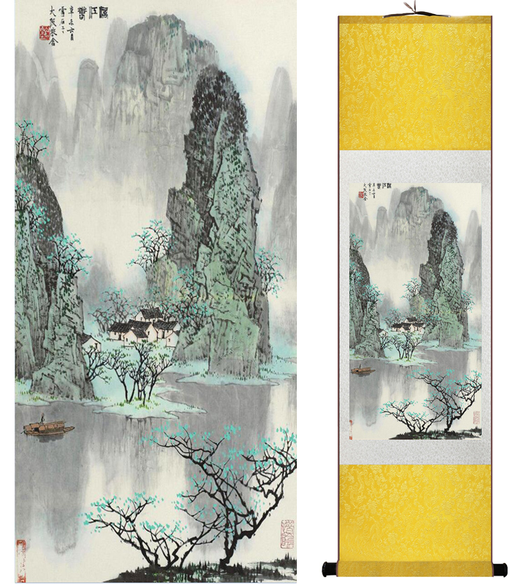 Mountain and River painting Chinese scroll painting landscape art painting home decoration picture 041711