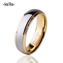 6mm chapado en oro tungsten carburo wedding band anillo comfort fit joyería de los hombres anillos de compromiso