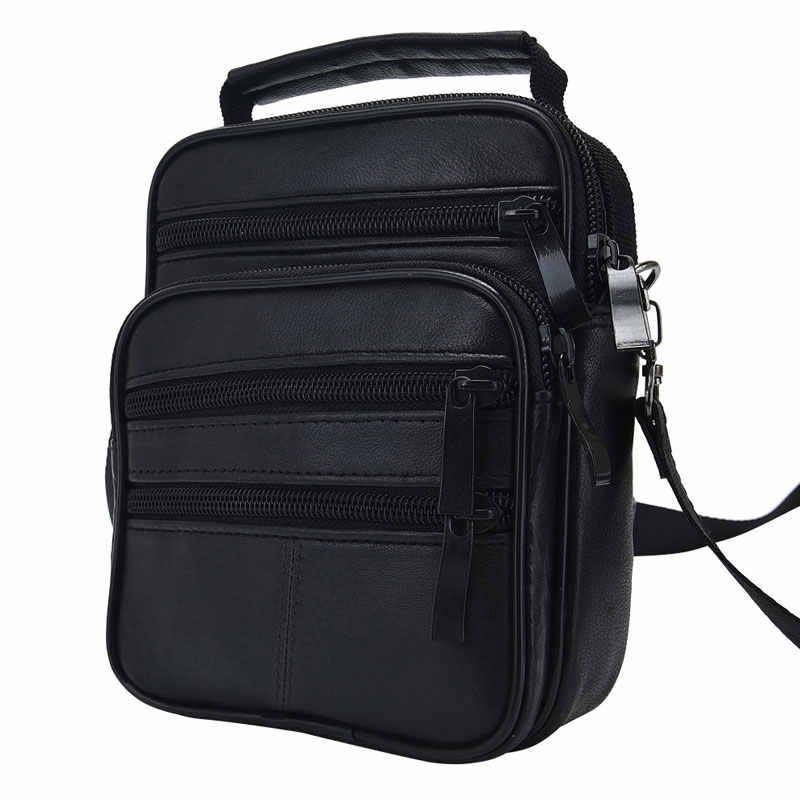 Fashion Men's Black Genuine Leather Crossbody Messenger Bag Handbag Man Single Shoulder Bags Business Solid Pack