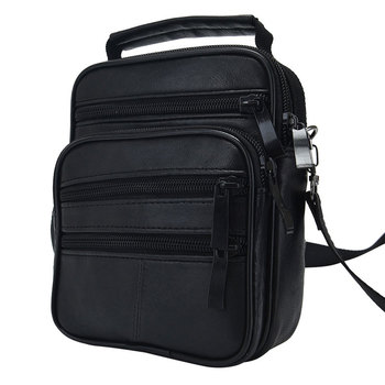 086cfbfd6 De moda de los hombres de cuero genuino Negro Bolso mensajero bolsa bolso  de hombre de un solo hombro bolsas sólida paquete