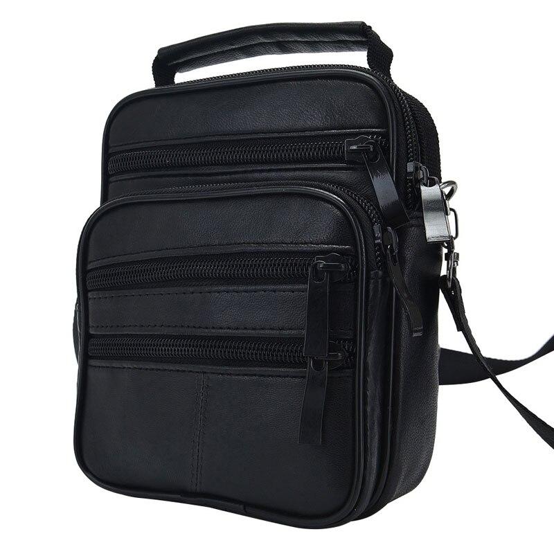 Fashion Men's Black Genuine Leather Crossbody Messenger Bag Handbag Man Single Shoulder Bags Business Solid Pack