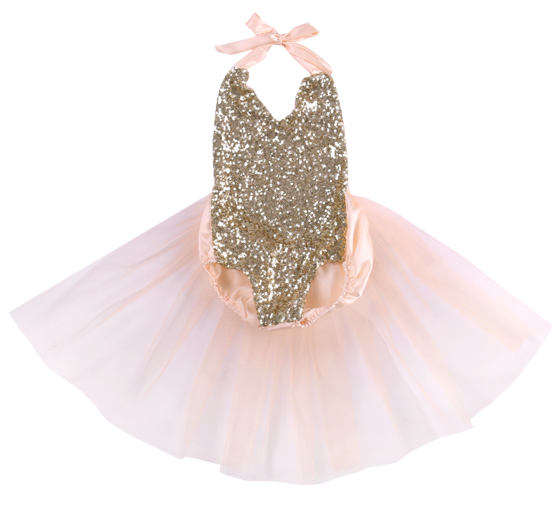 Pudcoco Newborn Baby Girl Cothes Sequins Backless Tulle Bodysuit Jumpsuit Sunsuit Outfits 0-24M