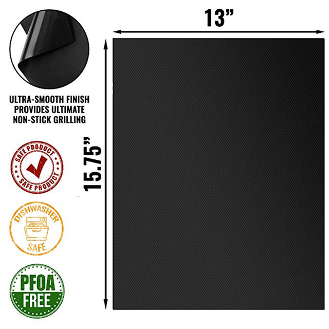 100% Non-stick BBQ Grill Mat Set of 3 - Heat Resistant, Reusable, Dishwasher Safe, Cleans Easily 40 * 33cm 1