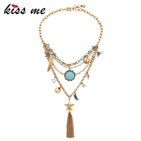 KISS ME New Geometric Pendants Multi Layer Necklaces For Women Gold Color Alloy Tassel Vintage Jewelry