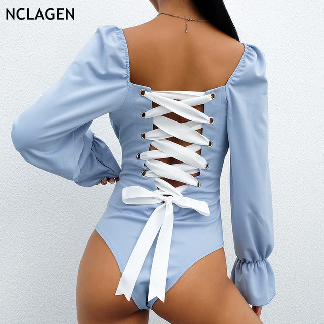 c8ce5b56361 NCLAGEN 2019 Women Sexy Back Bandage Lacework Puff Sleeve Bodysuit Waist  Slim Fit Bustier Playsuits Bodycon