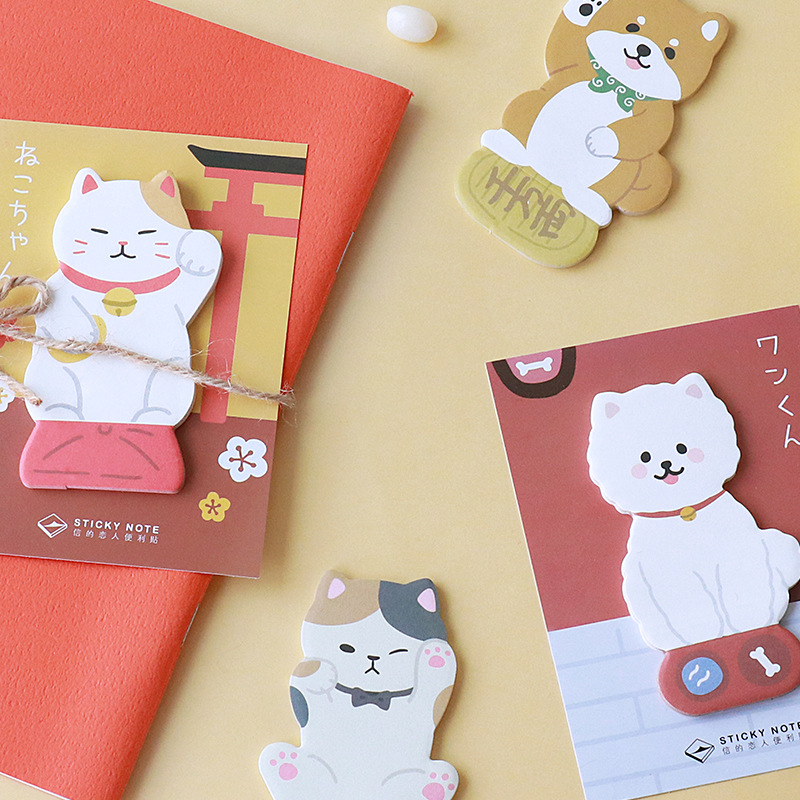 JUKUAI 4 Pcs/Lot Cute Dog And Kawaii Cat Sticky Note Memo Pad Post Stickers Planner Agenda Stationery Office School Supplies8040