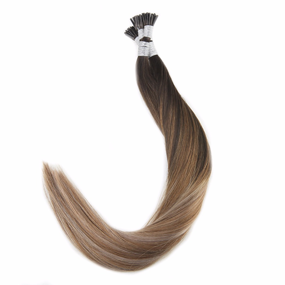 Full Shine I Tip Remy Hair Extensions 1g/Strand 50g Ombre Color #2 Dark Brown Fading To 6 Chestnut Brown And 18 Ash Blonde I Tip