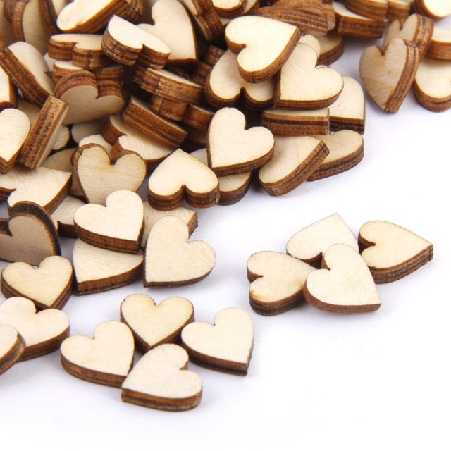 Linden wood Blank peach heart ornament for DIY 10mm 200 pcs.