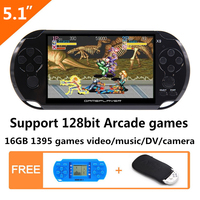 16GB 128Bit Handheld Game Console 5.1 inch MP4 Video Game Console built in 3000/1395 games for arcade/gba/gbc/snes/fc/smd