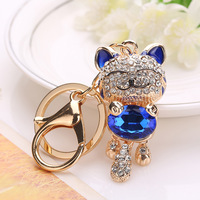 Charm Cat Rhinestone Keychains Metal Car Keyring 2017 Fashion Animal Cute Cats Women Handbag Key Ring Holder Jewelry