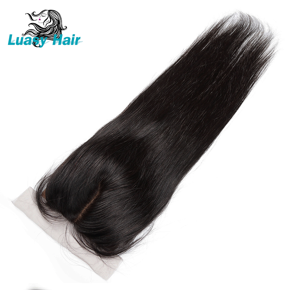 Luasy Straight Silk Base Closure With Baby Hair 100 Remy Peruvian Human Hair 4x4 Silk Top