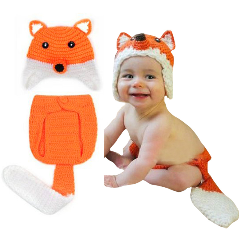 Hot Sale 2018 Creative Safety Newborn Baby Hats 0-9 Month Baby Knit Crochet Caps Clothes Photo Prop Outfits Fox Pattern FJ88