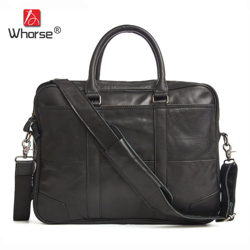 [WHORSE] Famous Brand Briefcase Genuine Leather Vintage Men 15 inch Laptop Bag Casual Large Business Bags Cowhide Male Handbag vintage 100% natural genuine leather bag big volume 3 layers men leather handbag 15 laptop bag briefcase soft cowskin handbags