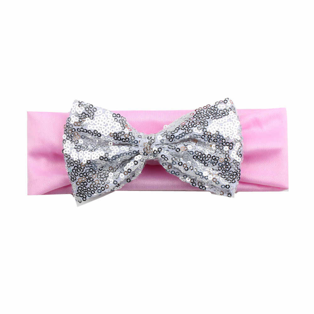 1 Pcs Girls Headband Newborn Beautiful Baby Hairband Sequins Bow Knot Headband Children 5 Color Hair Accessories UJKJ for Gift
