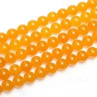 4mm 6mm 8mm 10mm pietra naturale calcedonio giallo di figura rotonda dei branelli per i braccialetti delle donne anf collana fare e risultati