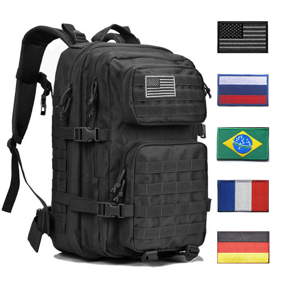 Outdoor Backpacks Tactical Backpack Military Rucksack Bag Mens Women 43L Army Bagpack Sports 3P Flag Waterproof Molle Bags Packs