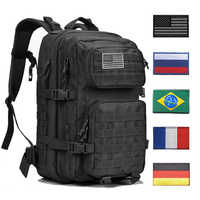 Sacs à dos en plein air sac à dos tactique sac à dos militaire hommes femmes 43L armée sac à dos sport 3P drapeau imperméable à l'eau sacs Molle Packs