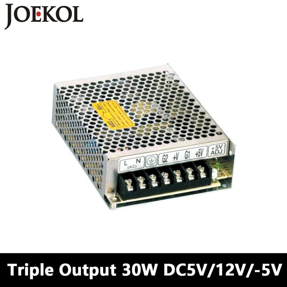 Triple Output Switching Power Supply 30W 5V 12V -5V,Ac Dc Converter For Led Strip Light,110V/220V Transformer To DC 5V/12V/-5V 201w led switching power supply 85 265ac input 40a 16 5a 8 3a 4 2a for led strip light power suply 5v 12v output
