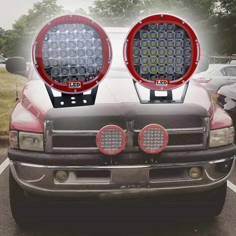 2x 9inch 185W LED Driving Spotlights RED ROUND For Jeep Offroad 4x4 Work 4WD Truck SUV With Roof Bar Bumper Fog Lamp car led spotlight cree automotive short animated film spotlights roof lighting roof lamp dc10 40v
