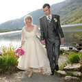 2016 Spring New Vintage Tea Length Half Sleeve Ivory Lace Organza wedding dress bridal gown robe de mariage Vestido de noiva