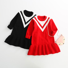 Girls Winter Preppy Style Sweater Kids Long Ruffles Knit Dress Striped Autumn Clothes 6Pcs A Lot For 2-10T Free Shipping