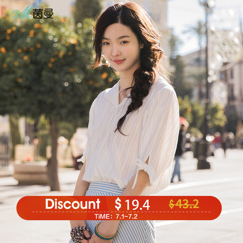 INMAN 2018 Blouses V Neck Cotton Material Clothes Women Summer Loose Type Stripped Bow Knot Pullover Shirt
