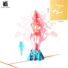 3D Pop Up Handmade Laser Cut Vintage Cards Swing Girl Creative Gifts Postcard Birthday Greeting For Children 10pcs
