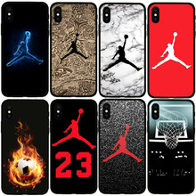 Jordan 23 Phone Case For Iphone X Xs Max Xr 10 Ten 8 7 6 6s Plus 5 5s Se Black Soft Silicone TPU Cover Basketball Sports Coque(China)