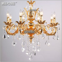 Classic 6 Arms Silver Clear Crystal Chandelier Light Fixture Crystal Lustre Hanging Lamp For Foyer Lobby
